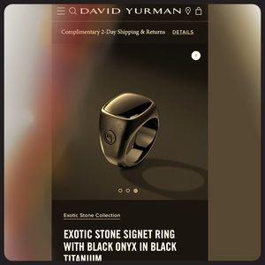 David Yurman exotic black stone titanium ring 9.5